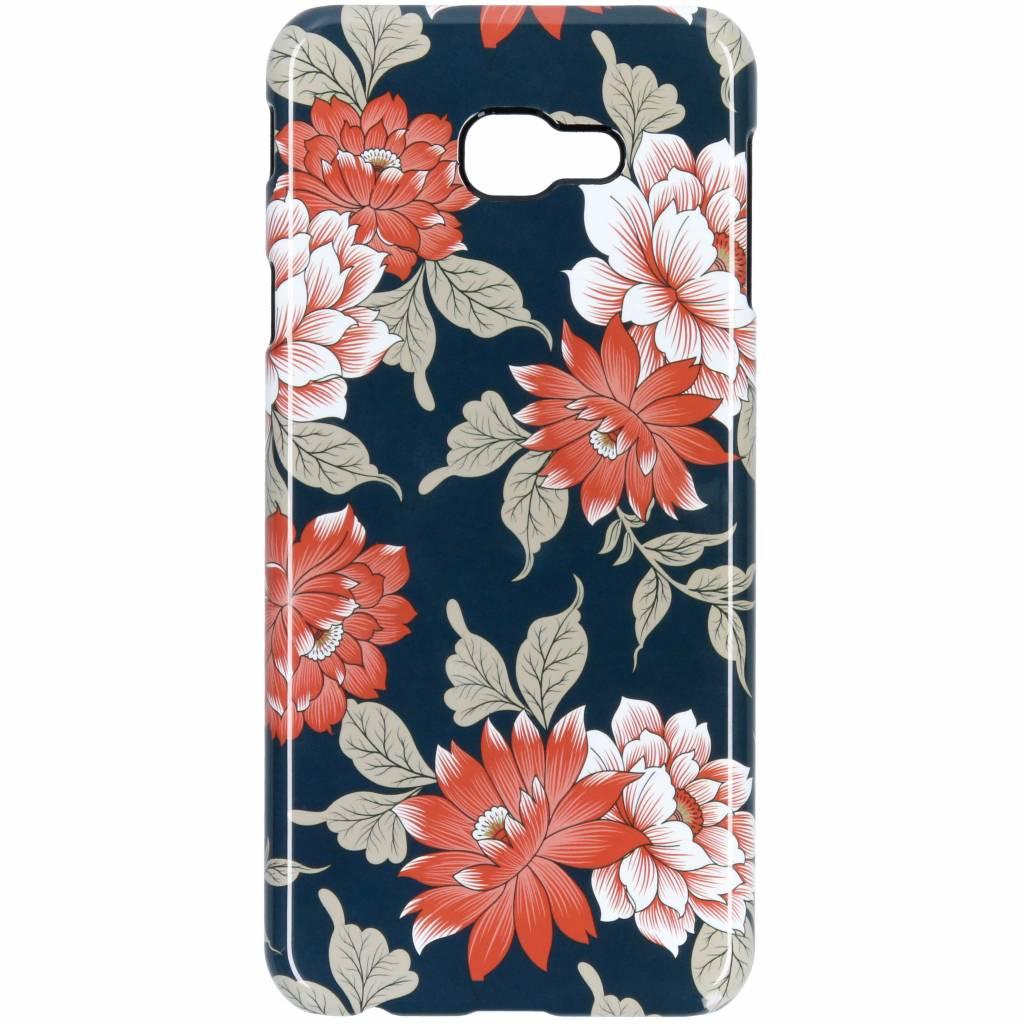 Selencia Blue Flowers Passion Hard Case voor de Samsung Galaxy J4 Plus