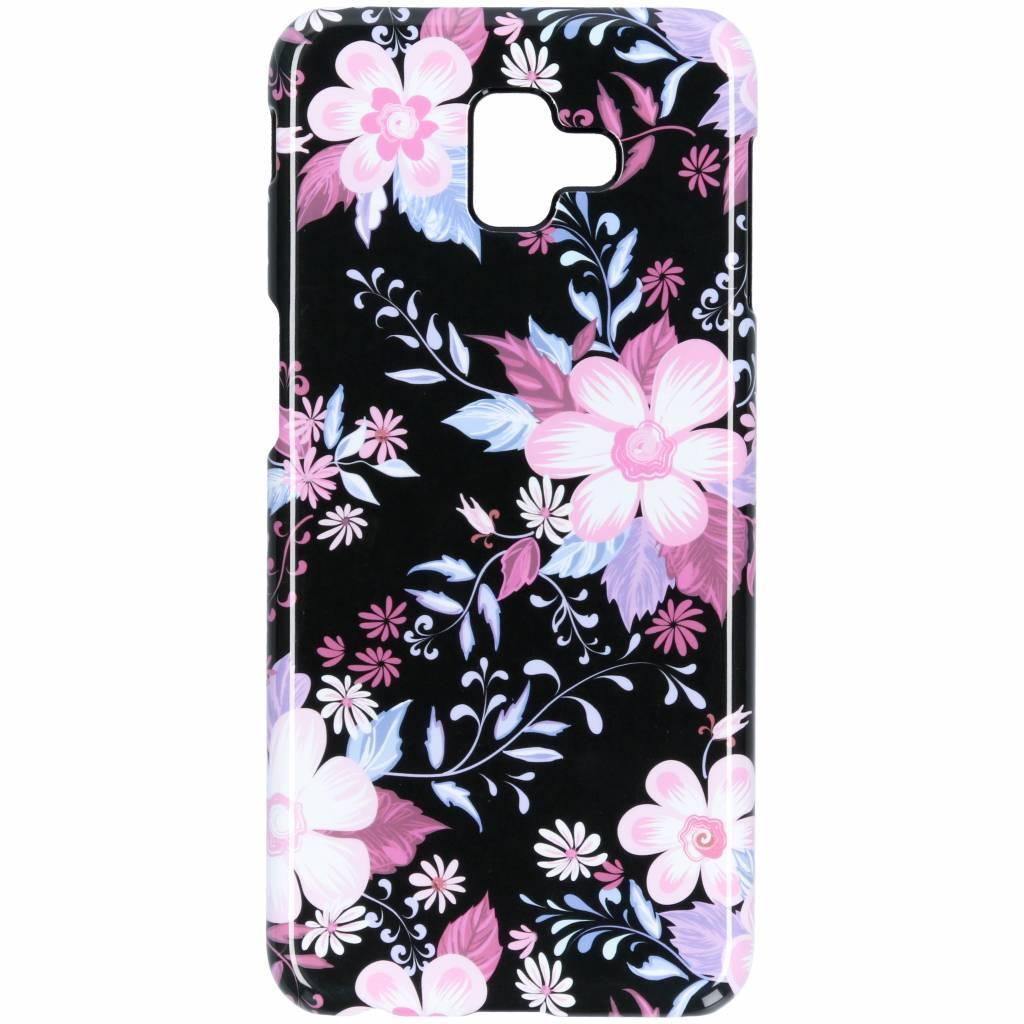 Selencia Black Flowers Passion Hard Case voor de Samsung Galaxy J6 Plus