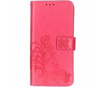 Fuchsia klavertje bloemen booktype hoes Huawei Mate 20
