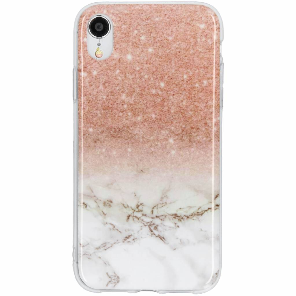 Design Backcover voor iPhone Xr - Marmer Roze / Wit