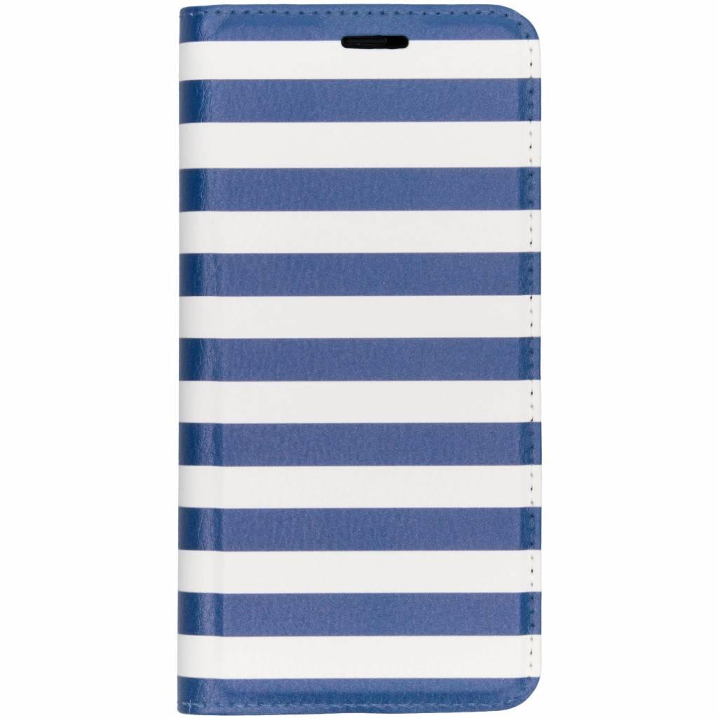 Design Softcase Booktype voor Samsung Galaxy S8 - Stripes Blue
