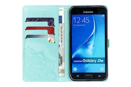 Mandala Booktype voor Samsung Galaxy J3 / J3 (2016) - Mintgroen