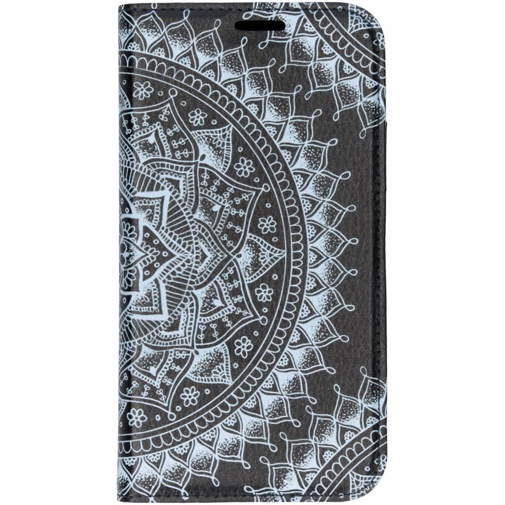 Zwart Mandala Design TPU Bookcase voor de iPhone Xr