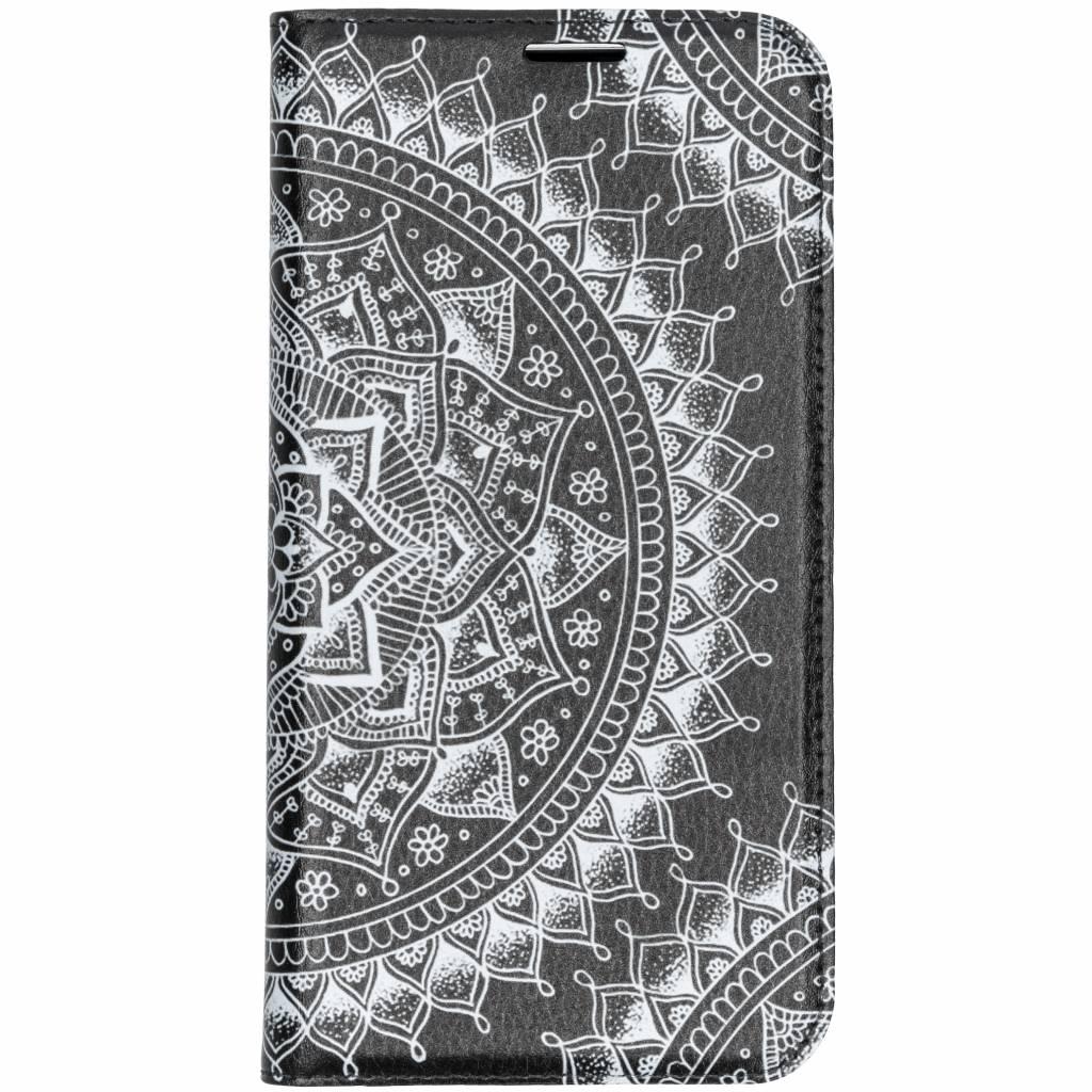 Zwart Mandala Design TPU Bookcase voor de iPhone Xs Max