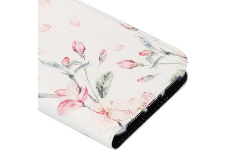 Design Softcase Booktype voor iPhone Xs Max - Bloesem Watercolor