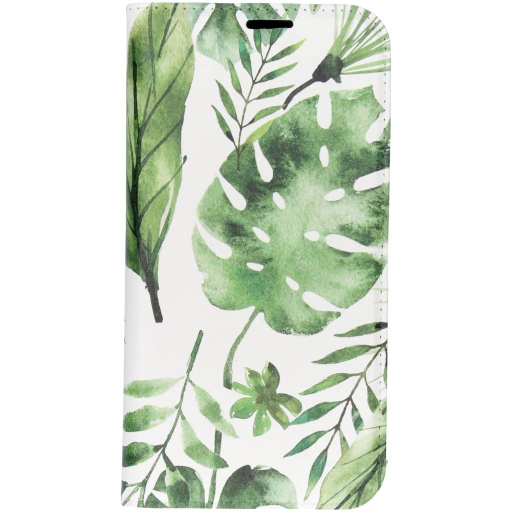 Design Softcase Booktype voor iPhone Xs Max - Monstera Leafs