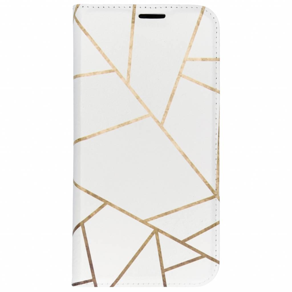 Wit Grafisch Design TPU Bookcase voor de iPhone Xs Max