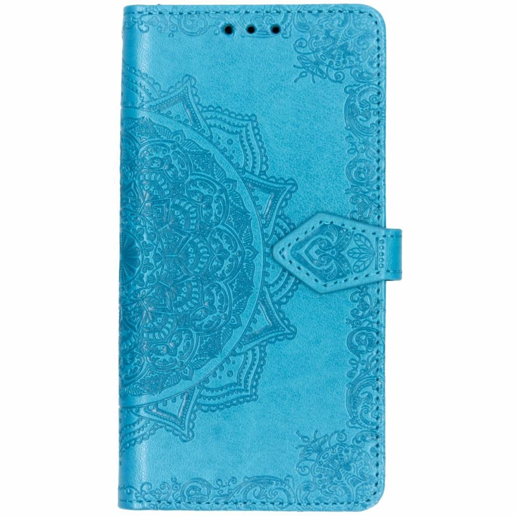 Blauwe mandala booktype hoes voor de iPhone Xr