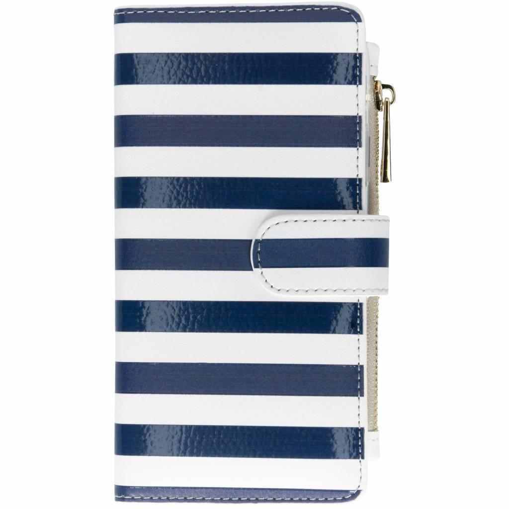 Stripes Blue design luxe portemonnee hoes voor de iPhone Xr