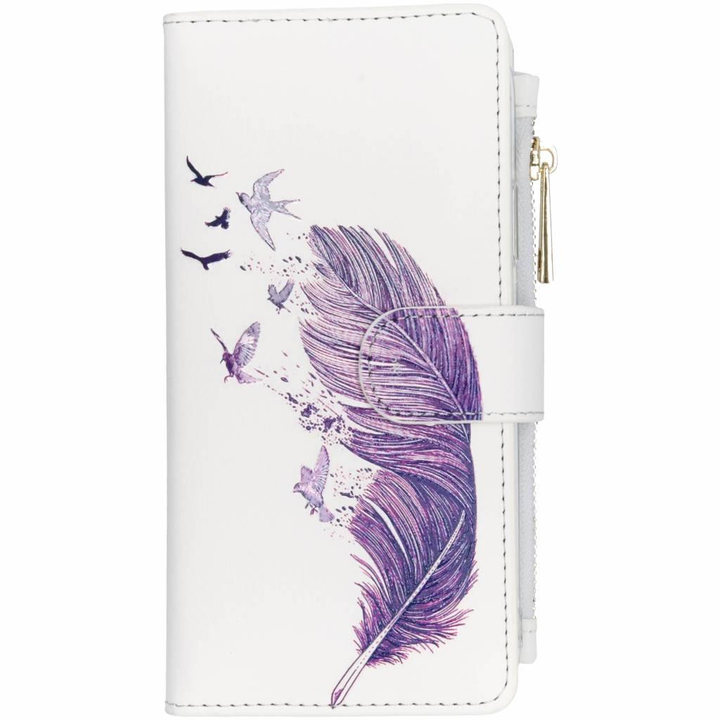 Paarse veer design luxe portemonnee hoes voor de iPhone Xr
