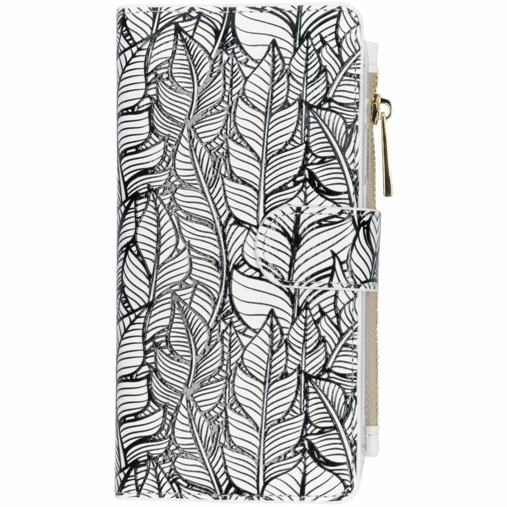 Feathers design luxe portemonnee hoes voor de iPhone Xr