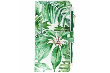 Design Luxe Portemonnee voor iPhone Xr - Bladeren Groen