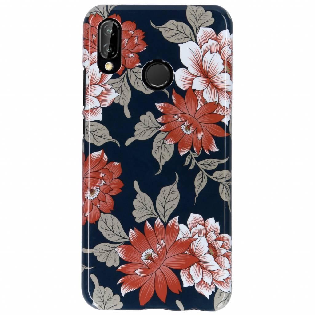 Passion Backcover voor Huawei P20 Lite - Bloemen Donkerblauw