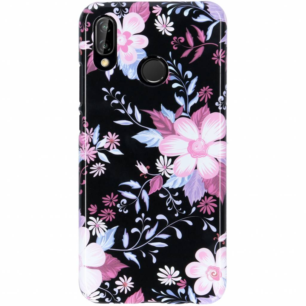 Passion Backcover voor Huawei P20 Lite - Bloemen Zwart