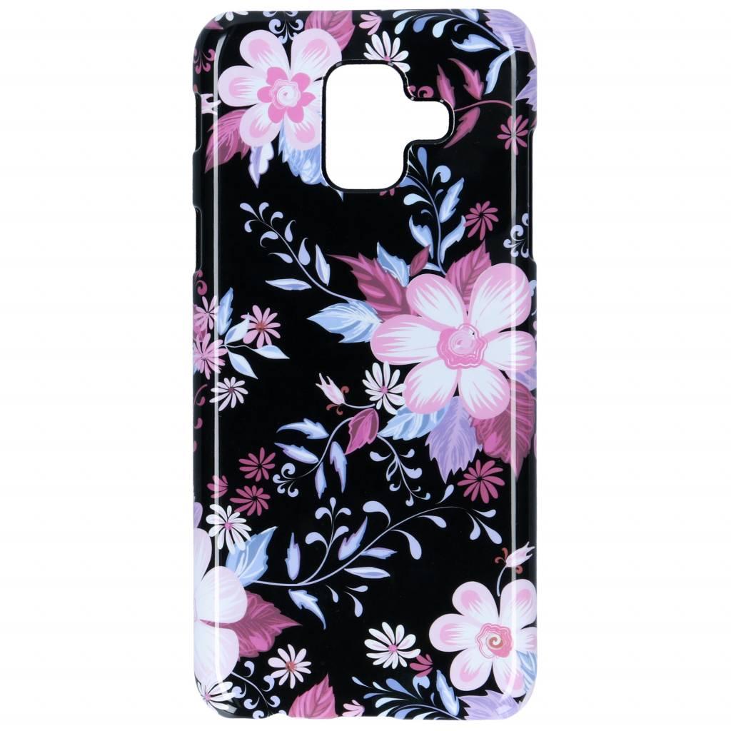 Selencia Black Flowers Passion Hard Case voor de Samsung Galaxy A6 (2018)