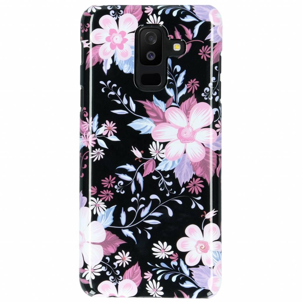 Selencia Black Flowers Passion Hard Case voor de Samsung Galaxy A6 Plus (2018)