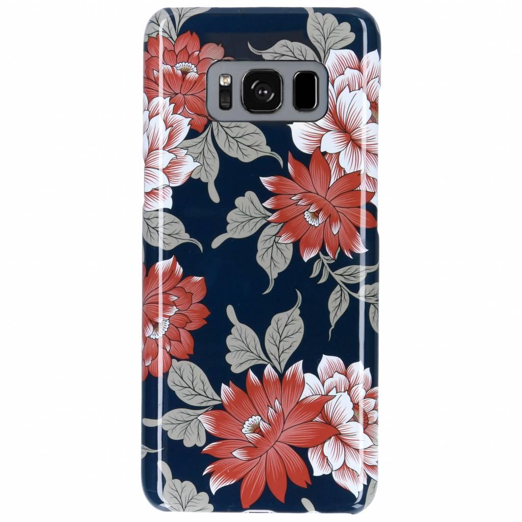 Passion Backcover voor Samsung Galaxy S8 - Bloemen Donkerblauw