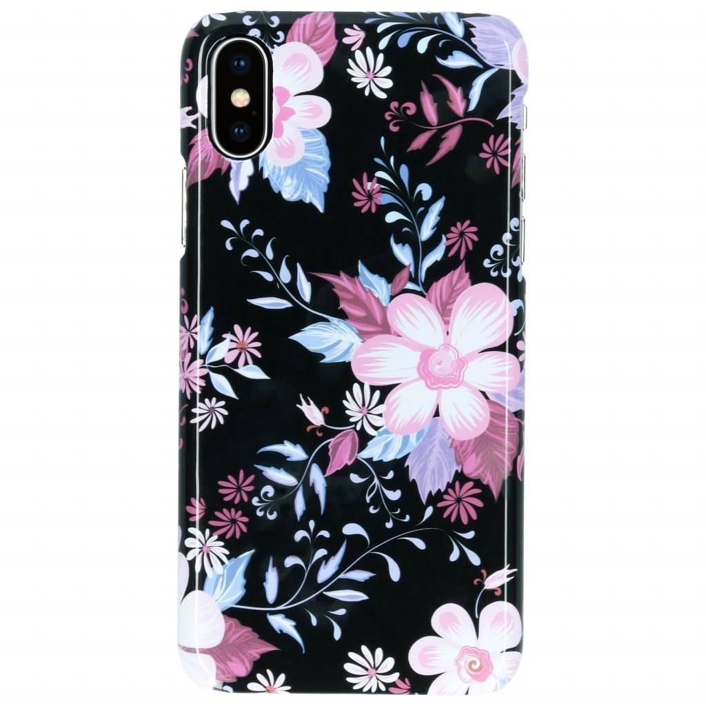 Selencia Black Flowers Passion Hard Case voor de iPhone Xs / X