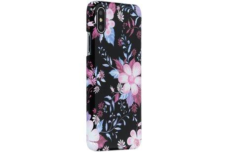 Passion Backcover voor iPhone X / Xs - Bloemen Zwart