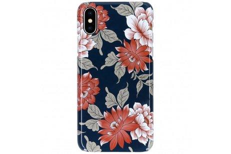 Passion Backcover voor iPhone X / Xs - Bloemen Donkerblauw