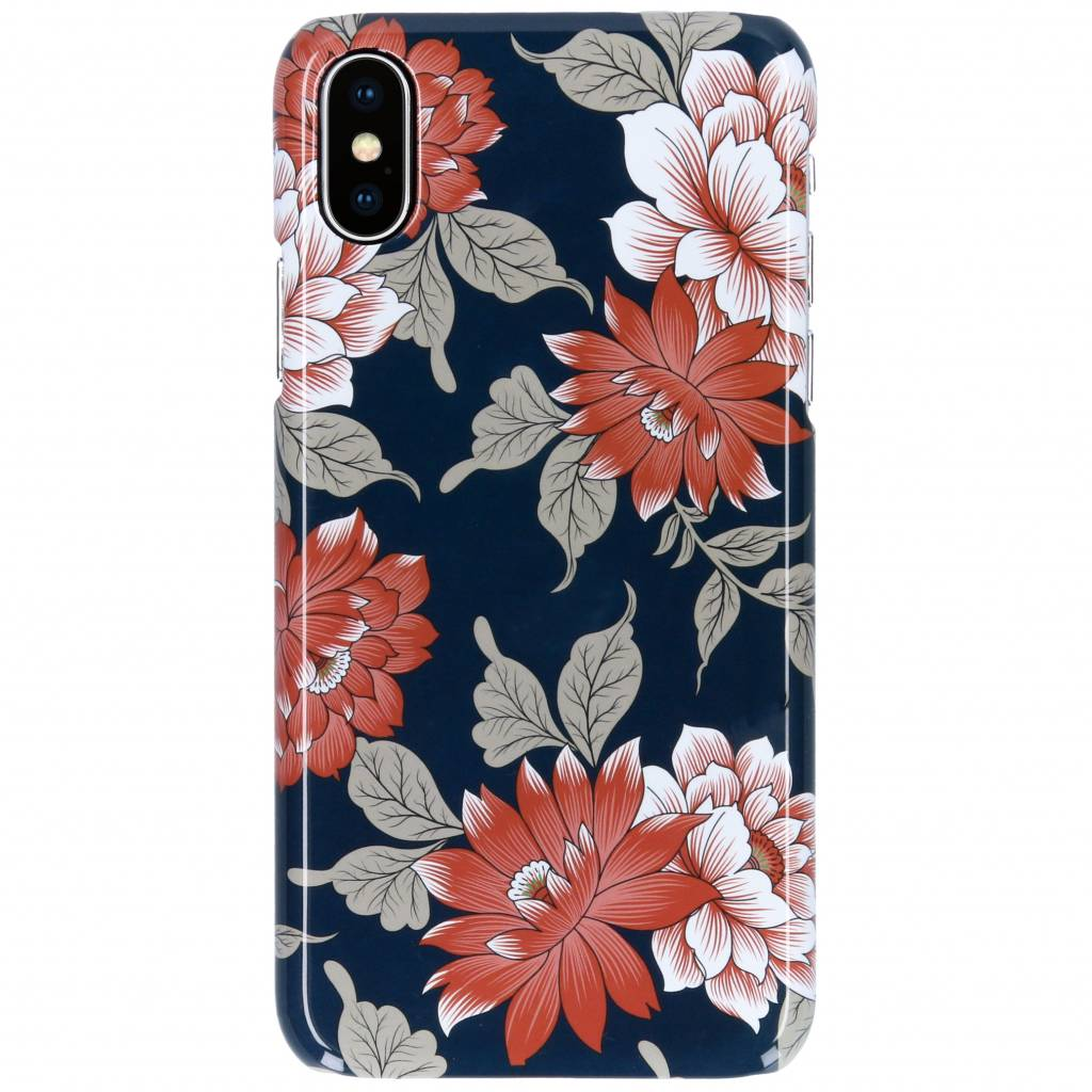 Selencia Blue Flowers Passion Hard Case voor de iPhone Xs / X