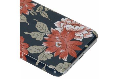 Passion Backcover voor iPhone 8 / 7 / 6s / 6 - Bloemen Donkerblauw