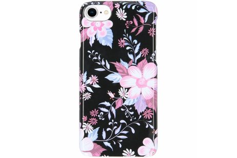 Passion Backcover voor iPhone 8 / 7 / 6s / 6 - Bloemen Zwart