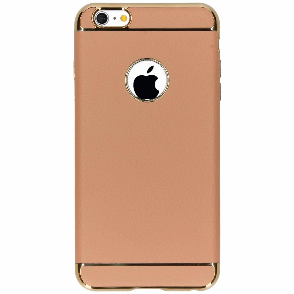Bruine luxe lederen siliconen case voor de iPhone 6(s) Plus
