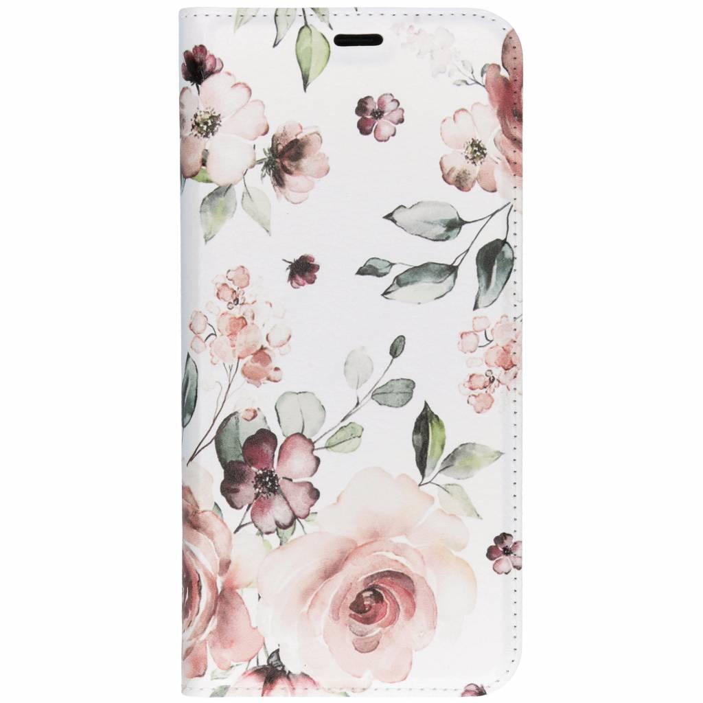 Roze Bloem Design TPU Bookcase voor de Samsung Galaxy S9 Plus