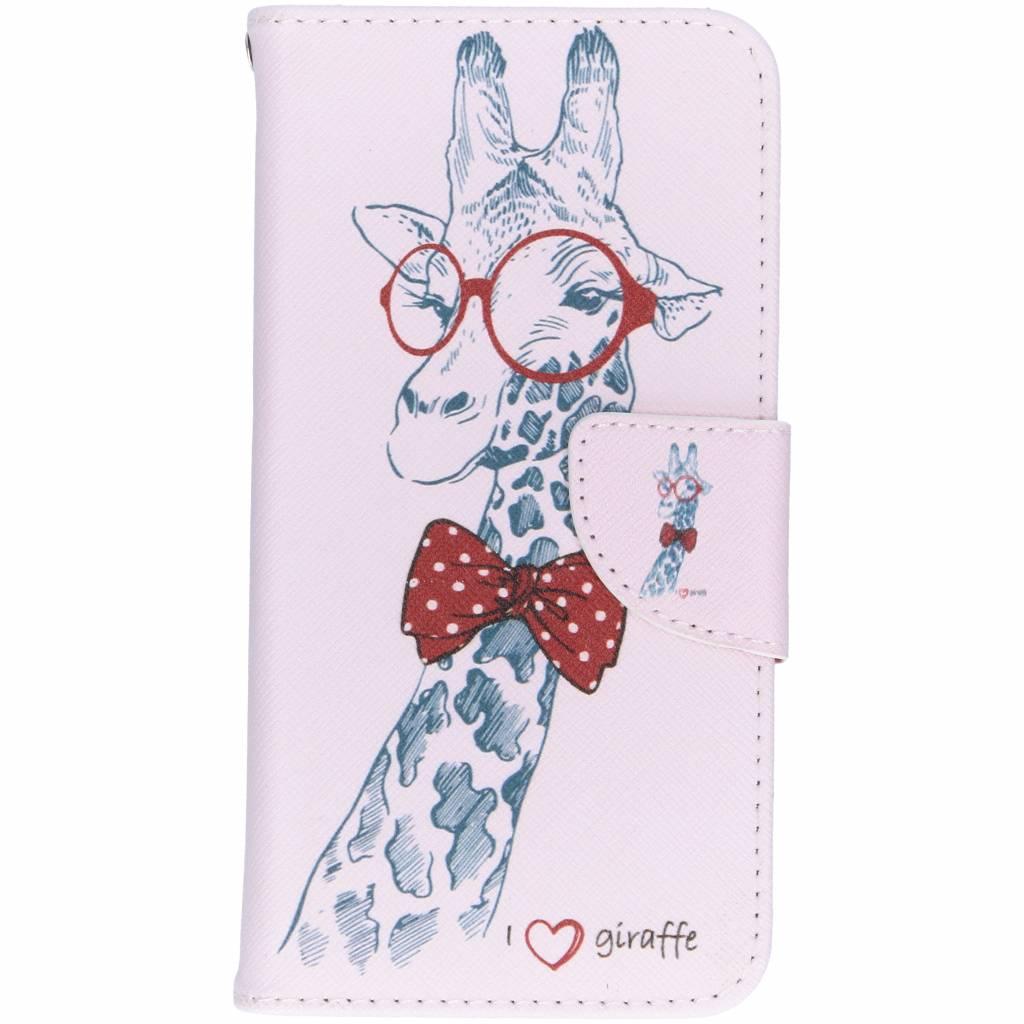 Giraffe design TPU booktype hoes voor de Huawei P20 Lite