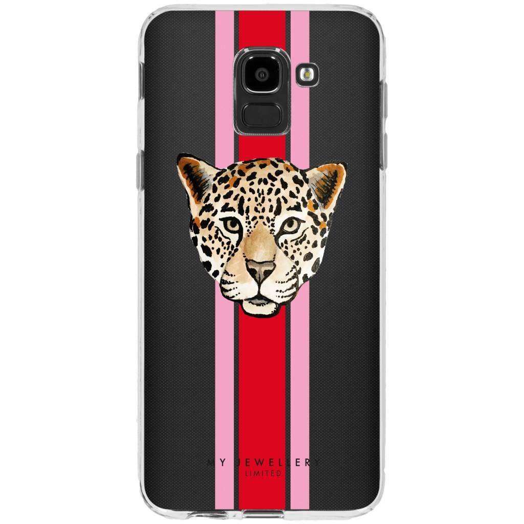 My Jewellery Leopard Red Design Soft Case voor de Samsung Galaxy J6