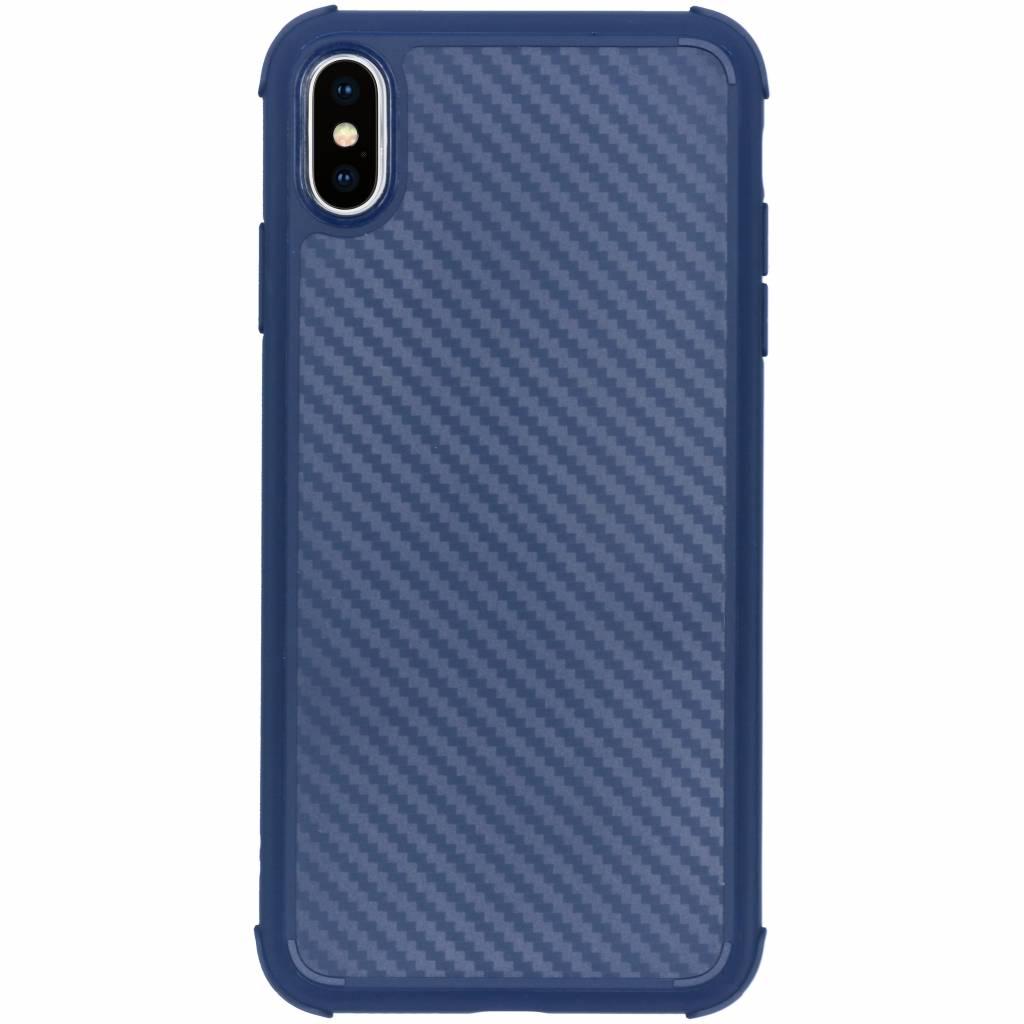 Blauw xtreme carbon siliconen hoesje voor de iPhone Xs Max