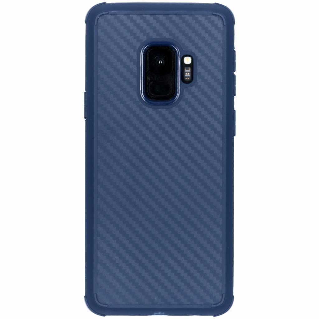Blauw xtreme carbon siliconen hoesje voor de Samsung Galaxy S9