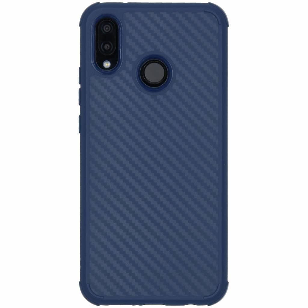 Blauw xtreme carbon siliconen hoesje voor de Huawei P20 Lite
