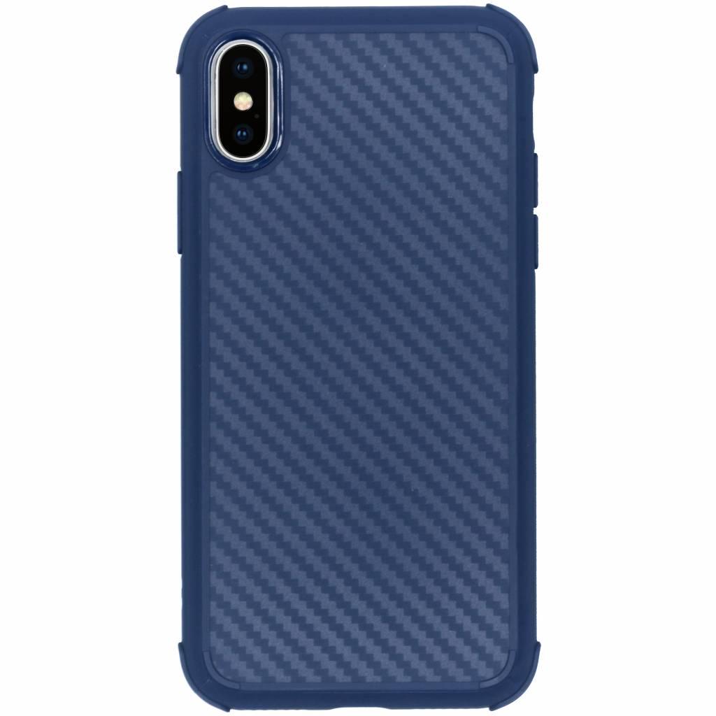 Blauw xtreme carbon siliconen hoesje voor de iPhone Xs / X