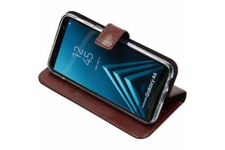 Valenta Leather Booktype voor Samsung Galaxy A6 (2018) - Bruin