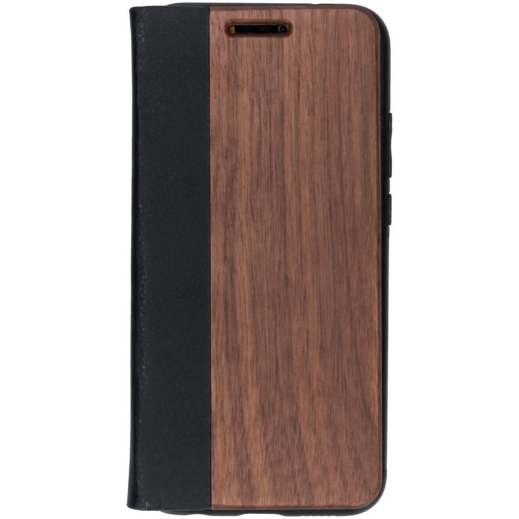Bruine hout lederen booktype hoes voor de Huawei P20 Lite