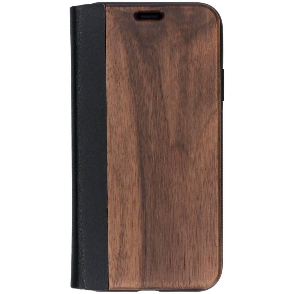 Bruine hout lederen booktype hoes voor de iPhone Xr