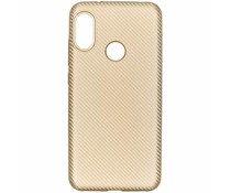 Goud Carbon siliconen hoesje Xiaomi Mi A2 Lite