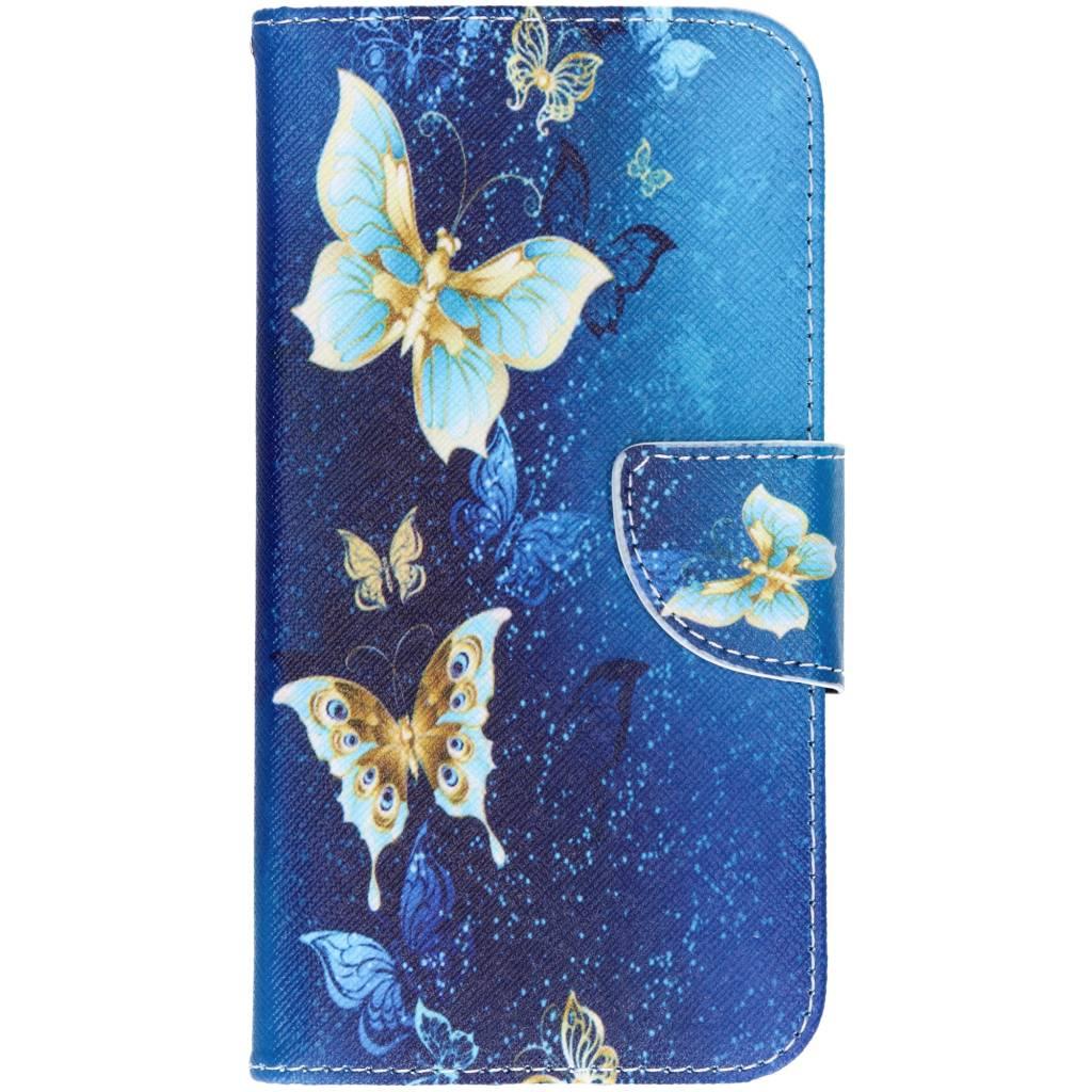 Blauwe vlinder design TPU booktype hoes voor de iPhone Xr