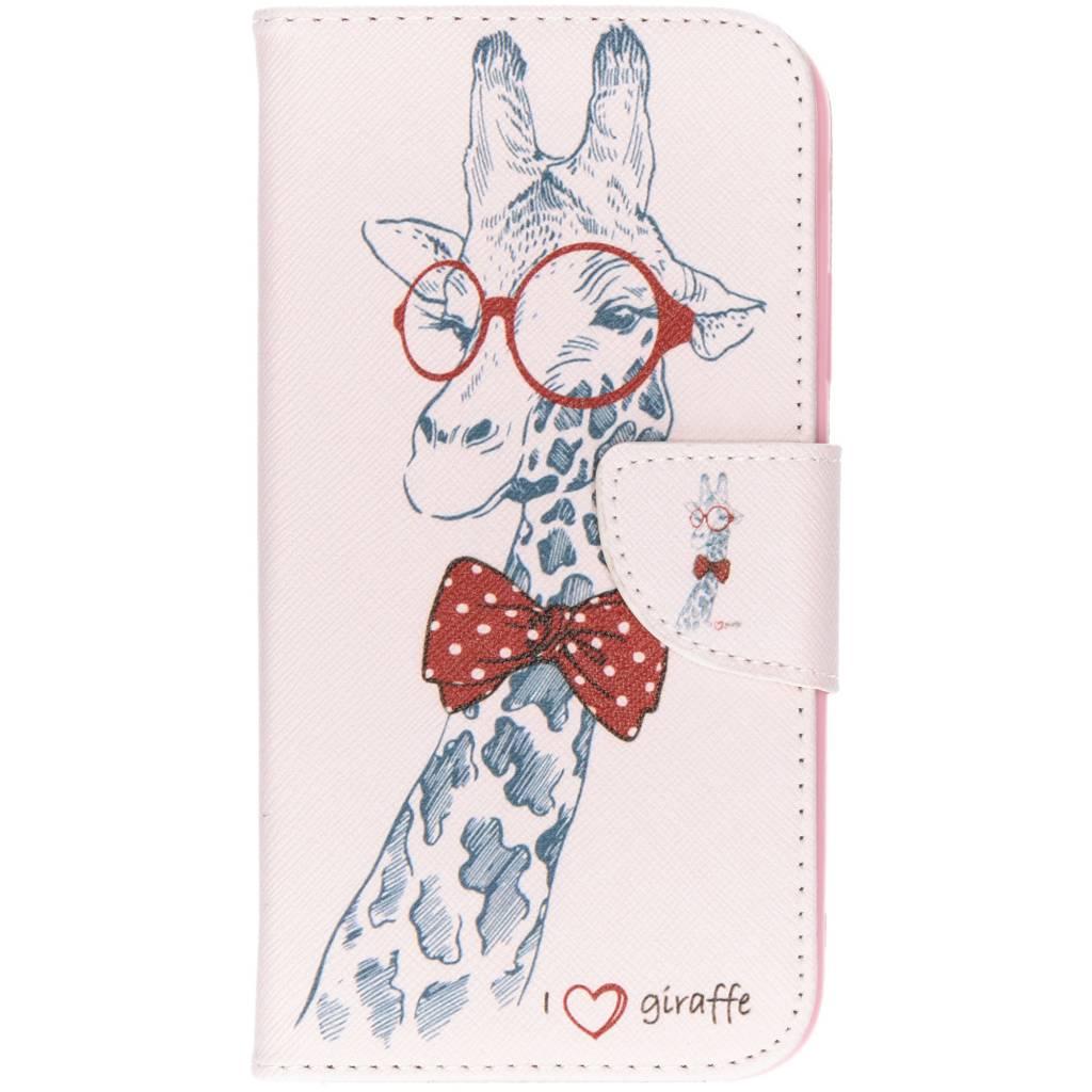 Giraffe design TPU booktype hoes voor de iPhone Xr