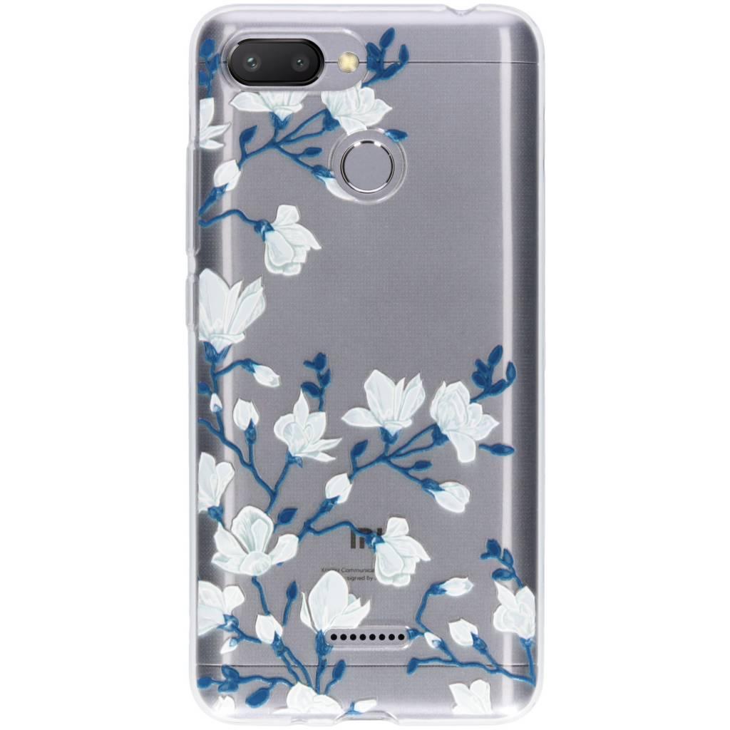 White flowers design siliconen hoesje voor de Xiaomi Redmi 6