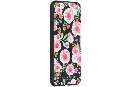 My Jewellery Design Backcover voor iPhone 6 / 6s - Pink Flowers Zwart