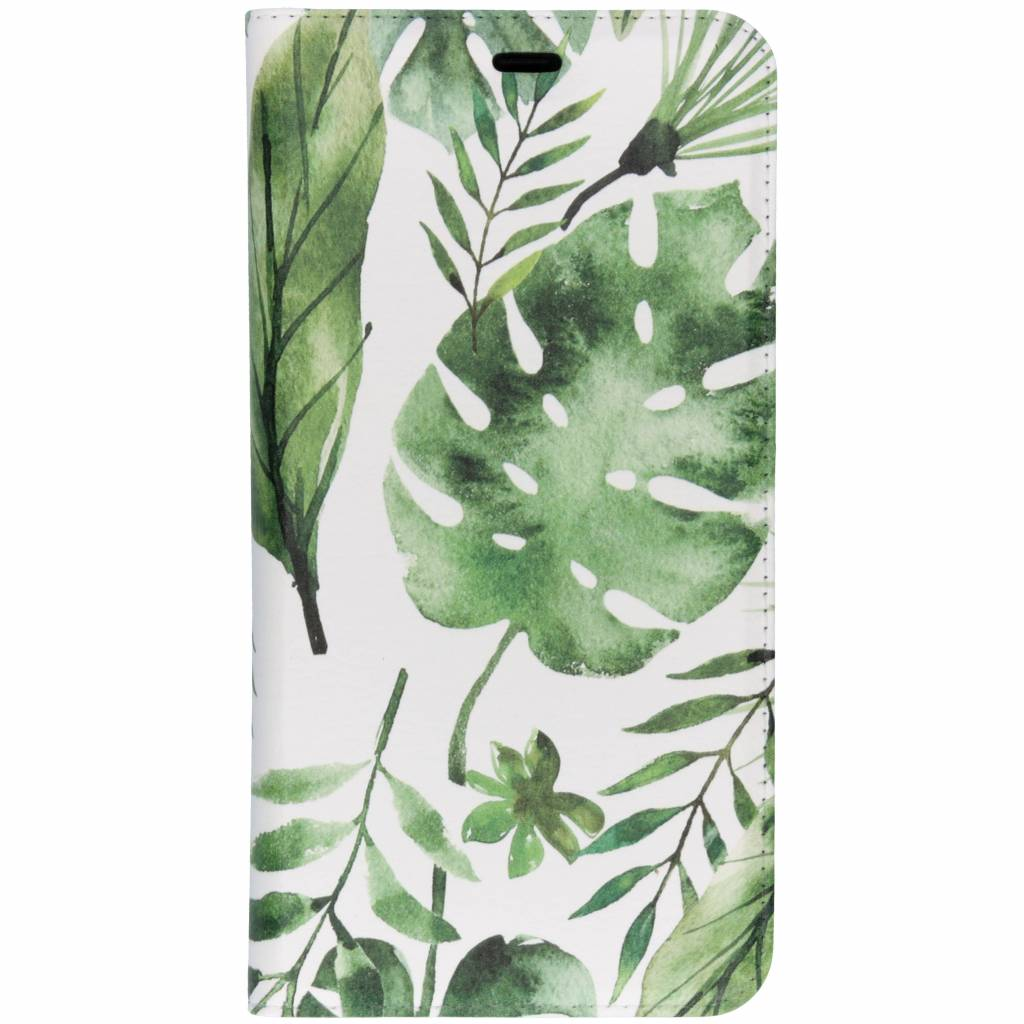 Design Softcase Booktype voor Samsung Galaxy A7 (2018) - Monstera Leafs