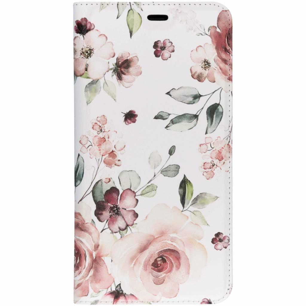 Design Softcase Booktype voor Samsung Galaxy A7 (2018) - Roze Bloemen