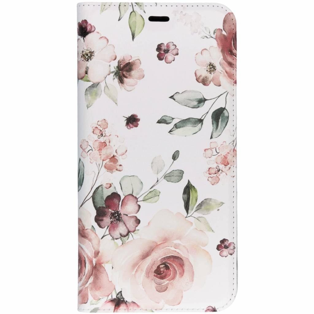 Design Softcase Booktype voor Samsung Galaxy J4 Plus - Roze Bloemen