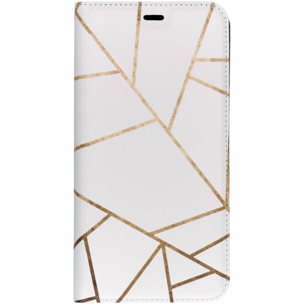 Wit Grafisch Design TPU Bookcase voor de Samsung Galaxy J4 Plus