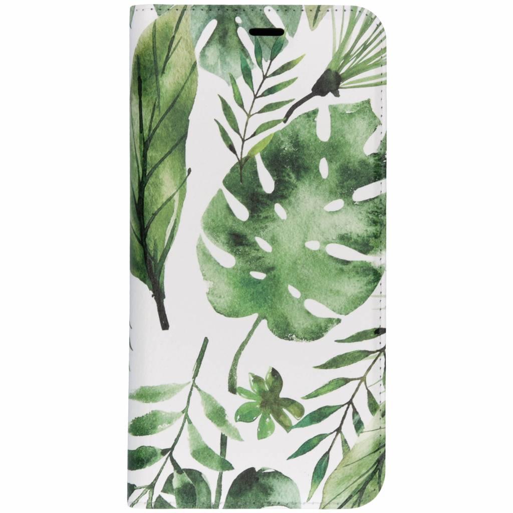 Groene Bladeren Design TPU Bookcase voor de Samsung Galaxy J6 Plus