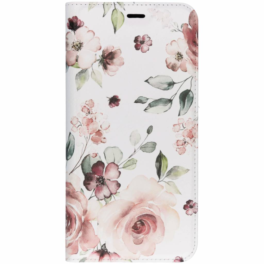 Roze Bloem Design TPU Bookcase voor de Samsung Galaxy J6 Plus