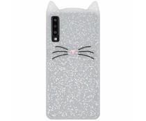 Transparant glitter kat TPU hoesje Samsung Galaxy A7 (2018)